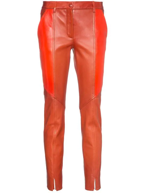 Givenchy Contrast Panel Skinny Leather Cropped Trousers In Red
