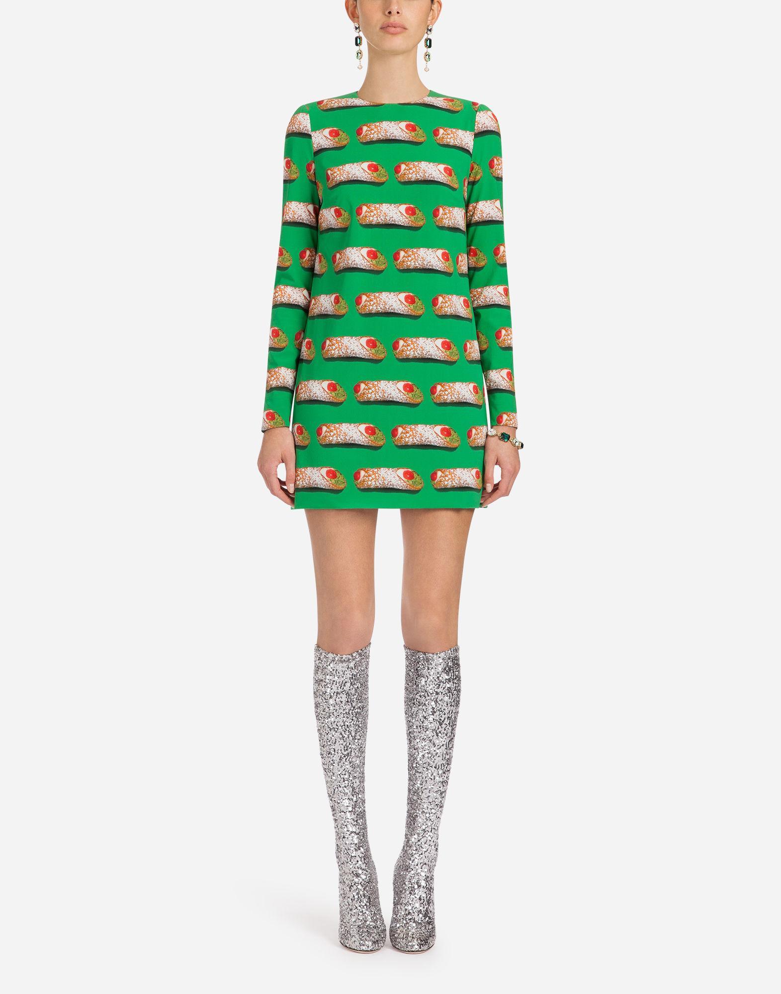 Dolce & Gabbana Printed Silk Dress In Green