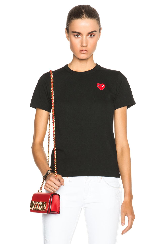 Comme Des Garçons Play Jersey Red Emblem Tee In Black