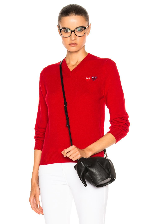 Comme Des Garçons Play Double Emblem V Neck Sweater In Red
