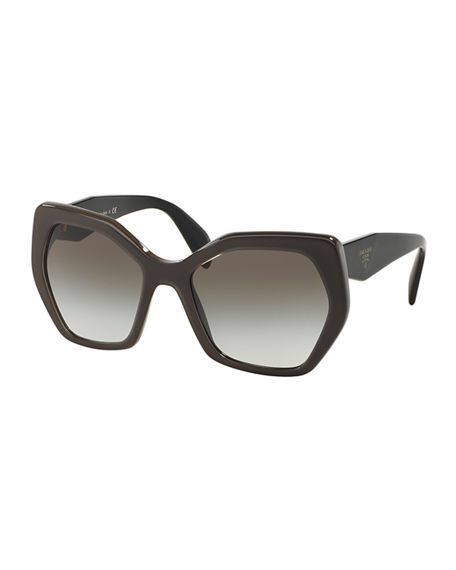 Prada Heritage Angled Butterfly Sunglasses In Black/Gray