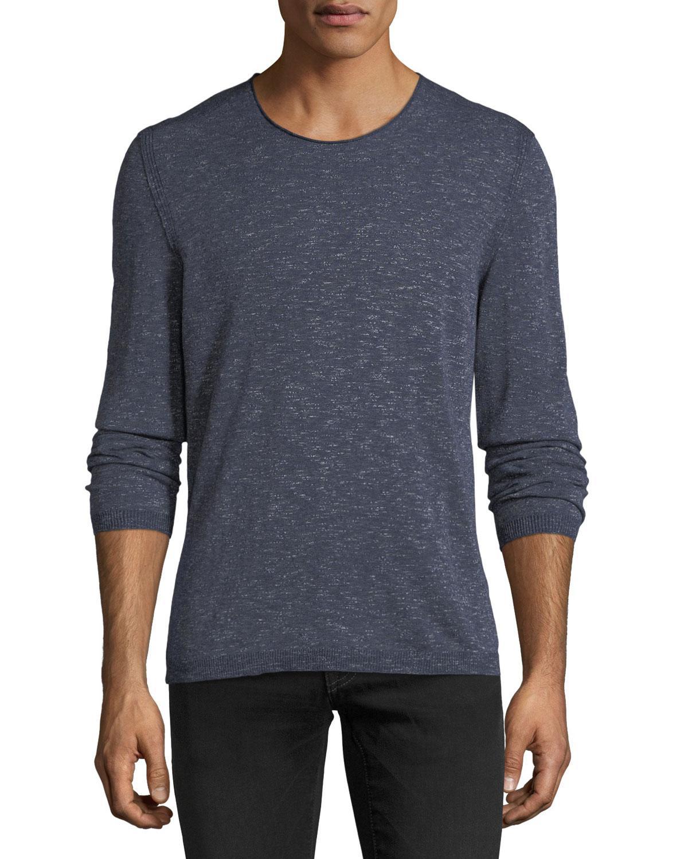 John Varvatos Slim Fit Cotton Blend Sweater In Officer Blue