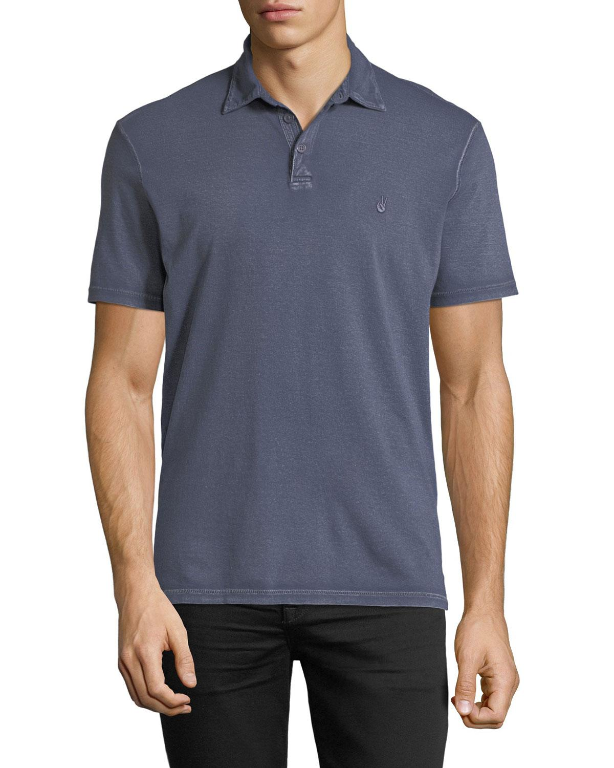 b43294424 John Varvatos Peace Sign Burnout Polo Shirt In Ocean Blue | ModeSens