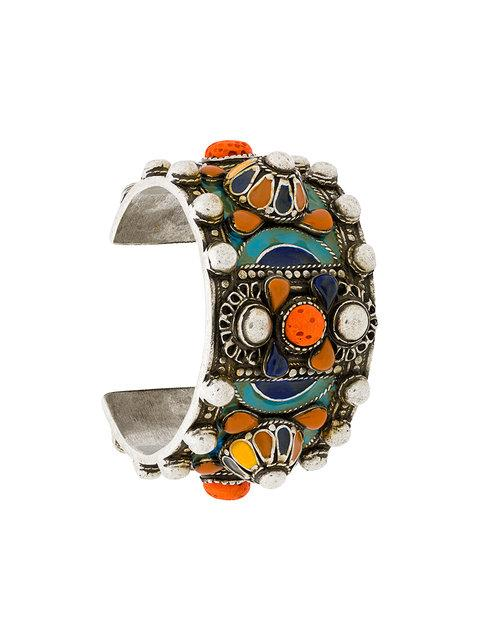 374ea201bf8 Saint Laurent Marrakech Enameled Wide Cuff Bracelet In Multicolour ...