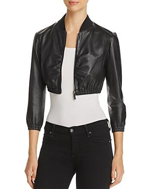 6154c84f57 Zip-Front Cropped Ruched-Waist Leather Jacket in Black