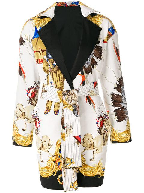 Versace Native American Baroque Belted Coat