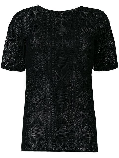 Saint Laurent Lace Short Sleeve Top In Black