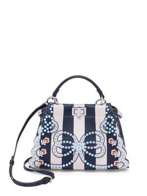 714ea8e2056e Fendi Peekaboo Mini Studded Stripe Leather Satchel In Blue-Multi ...
