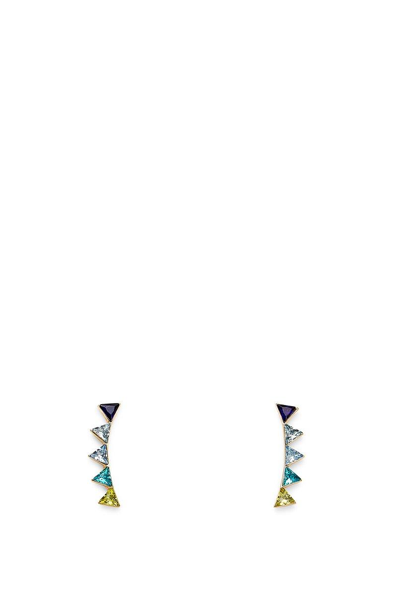 Rebecca Minkoff Stacked Triangles Ear Climber In Gold With Blue Multi