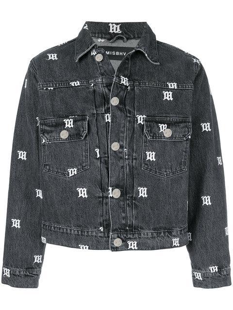 Misbhv Monogram Print Cropped Denim Jacket In Black