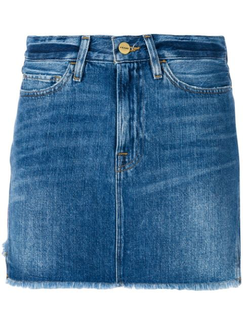 Frame Le Mini Denim Cotton Skirt In Blue