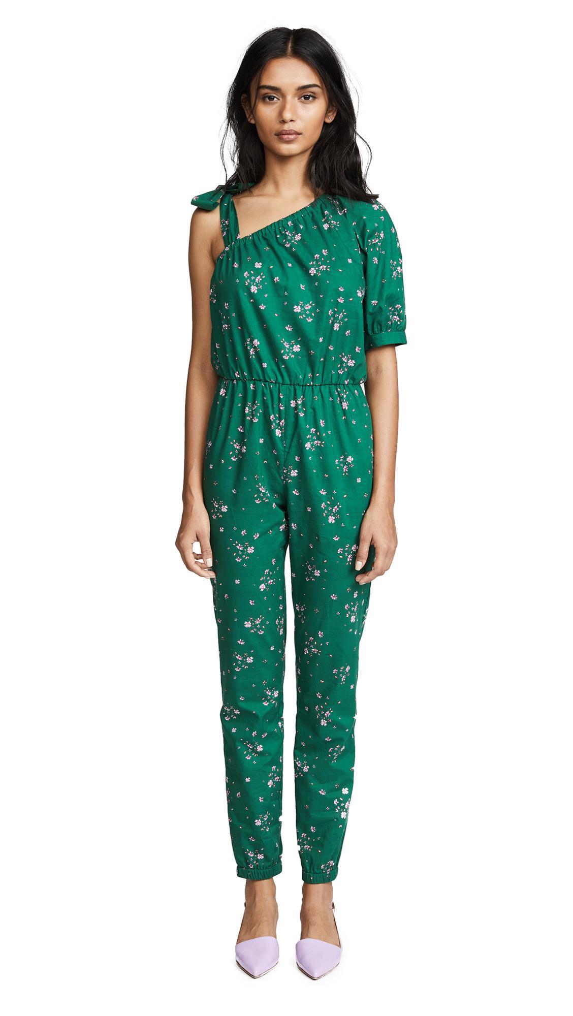 Amanda Uprichard Lucila Jumpsuit In Emerald Ditsy