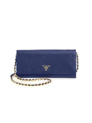8eff9b1f213c Prada Saffiano Leather Chain Wallet In Bluette-Blue   ModeSens