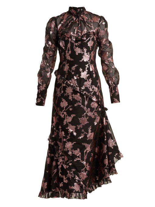 6ae3399f658 Erdem Faylinn Ruffled Fil CoupÉ Cotton-Blend Organza Midi Dress In Pink