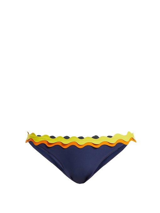 Rye Oh My Scallop-edged Bikini Briefs In Navy Multi