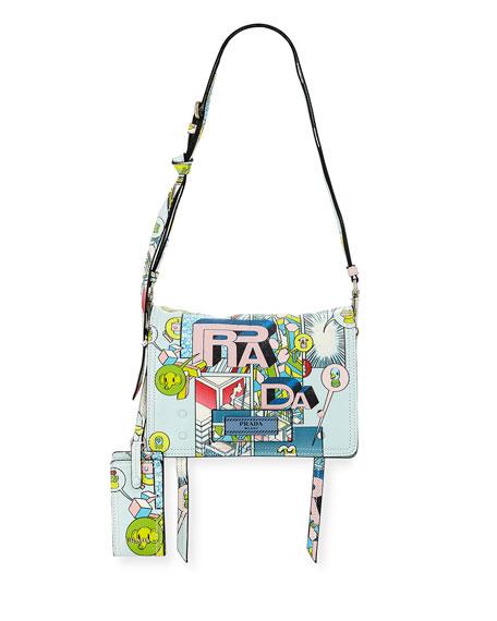 a71630a2aeae Prada Etiquette Medium Comic Print Shoulder Bag, Multi Pattern ...