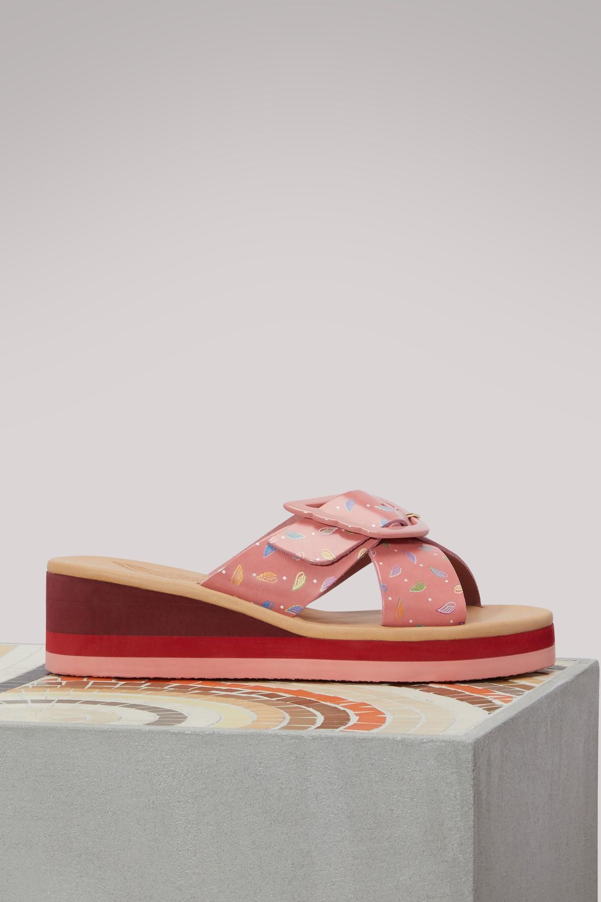 Ancient Greek Sandals Rainbow Wedge Sandals In Crazy Logo Pale Pink