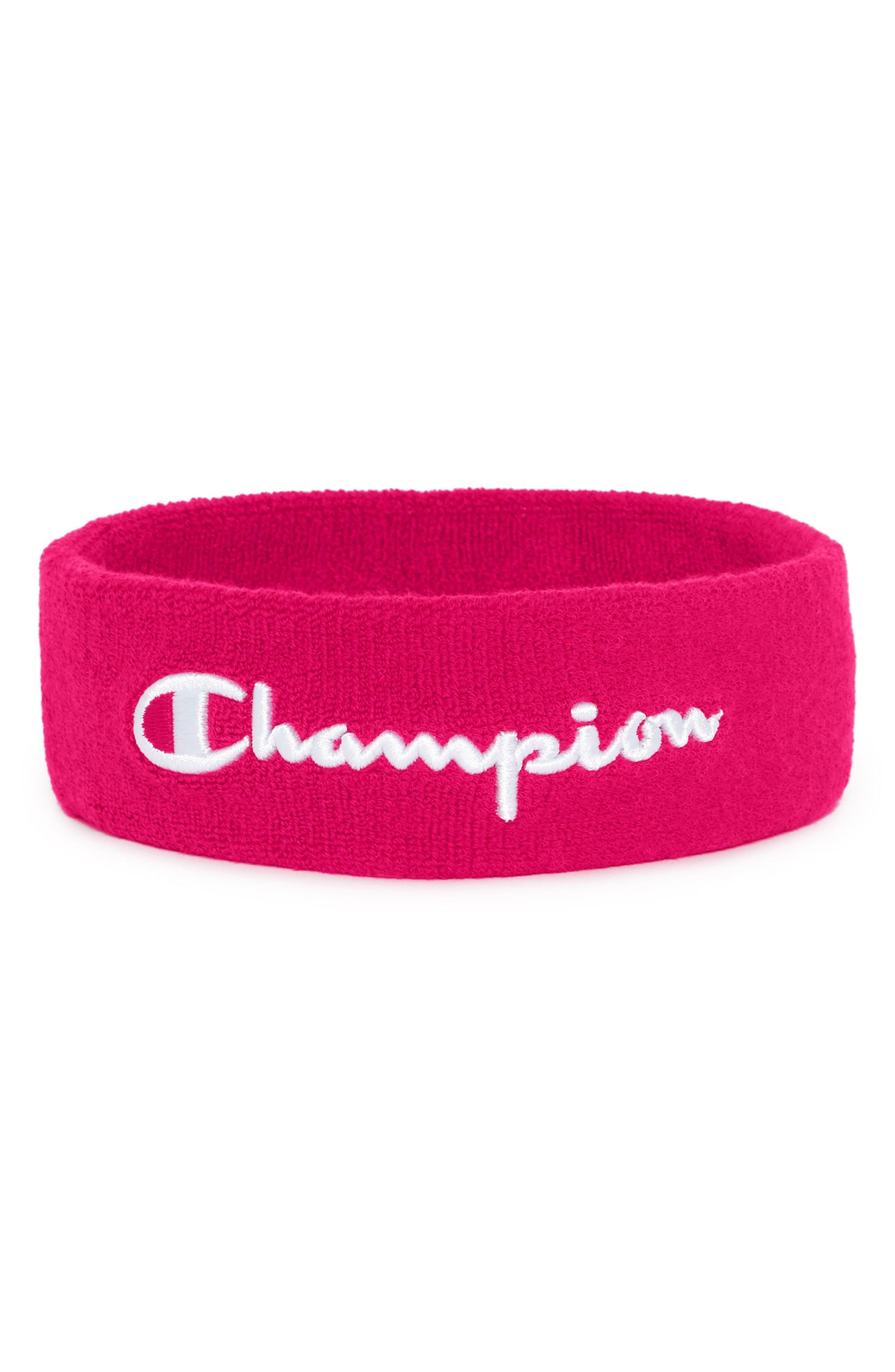 1090a9a43d4a A bold logo brands a must-have sweatband made of soft cotton terry for a  comfortable fit and drier workouts. Style Name  Champion Terry Logo  Sweatband.