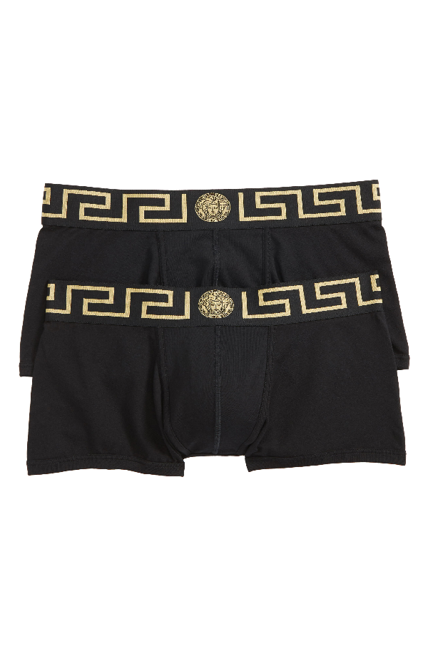 29fa8e3620 Versace Men's Greek Keys Low-Rise Trunks In Black/ Gold | ModeSens
