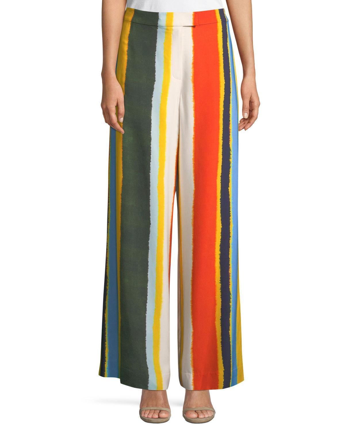 1a6a31426b9b5 TORY BURCH Stephanie Beach Cotton-Voile Tie-Dye Kaftan in Multicoloured. Tory  Burch Fiona Striped Twill Wide-Leg Pants In Green