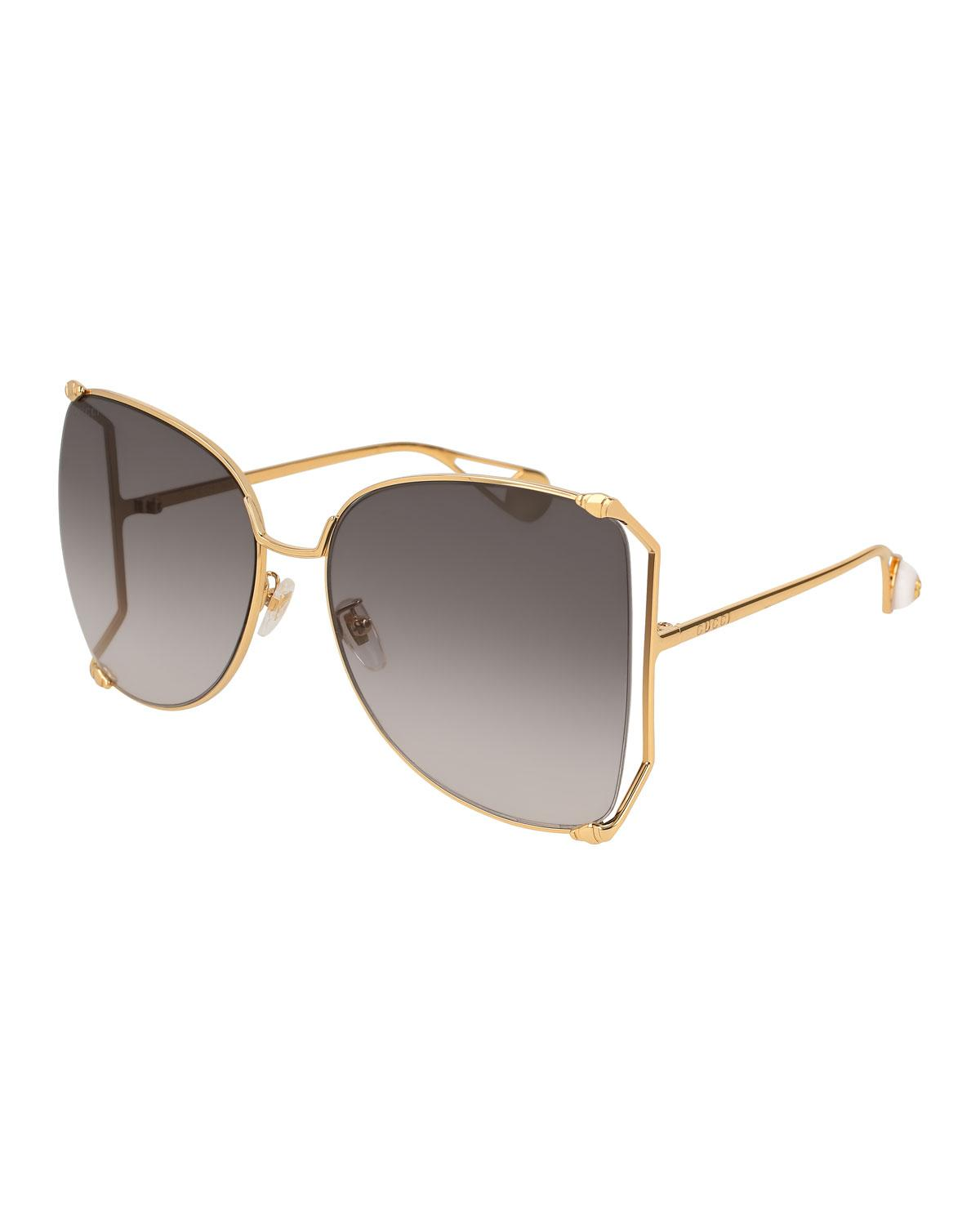 c6c8bc8247364 Gucci Oversized Metal Butterfly Sunglasses