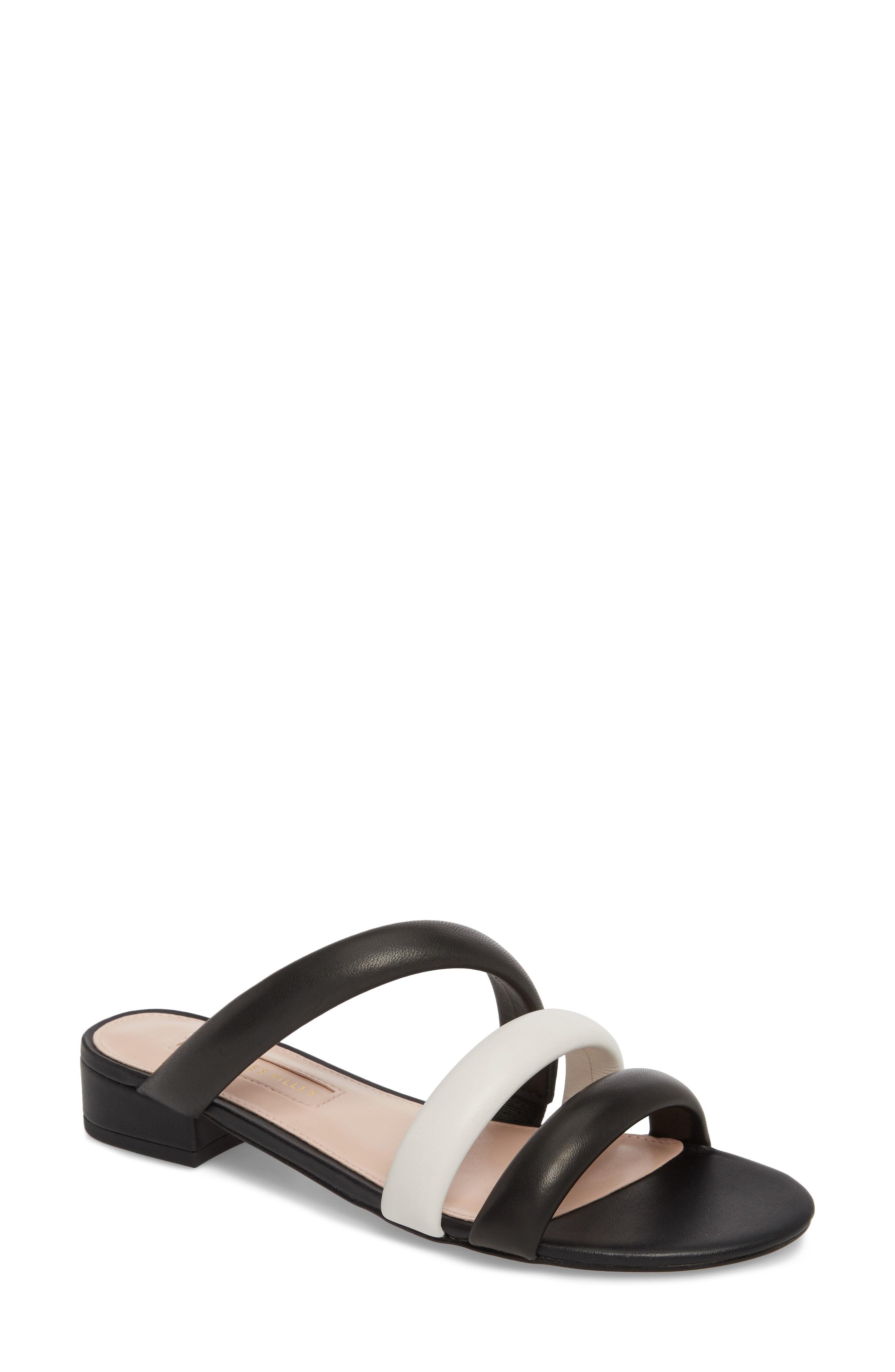 1ed53ea37c64 Avec Les Filles Carla Leather Slip-On Sandals In Black  Off White ...