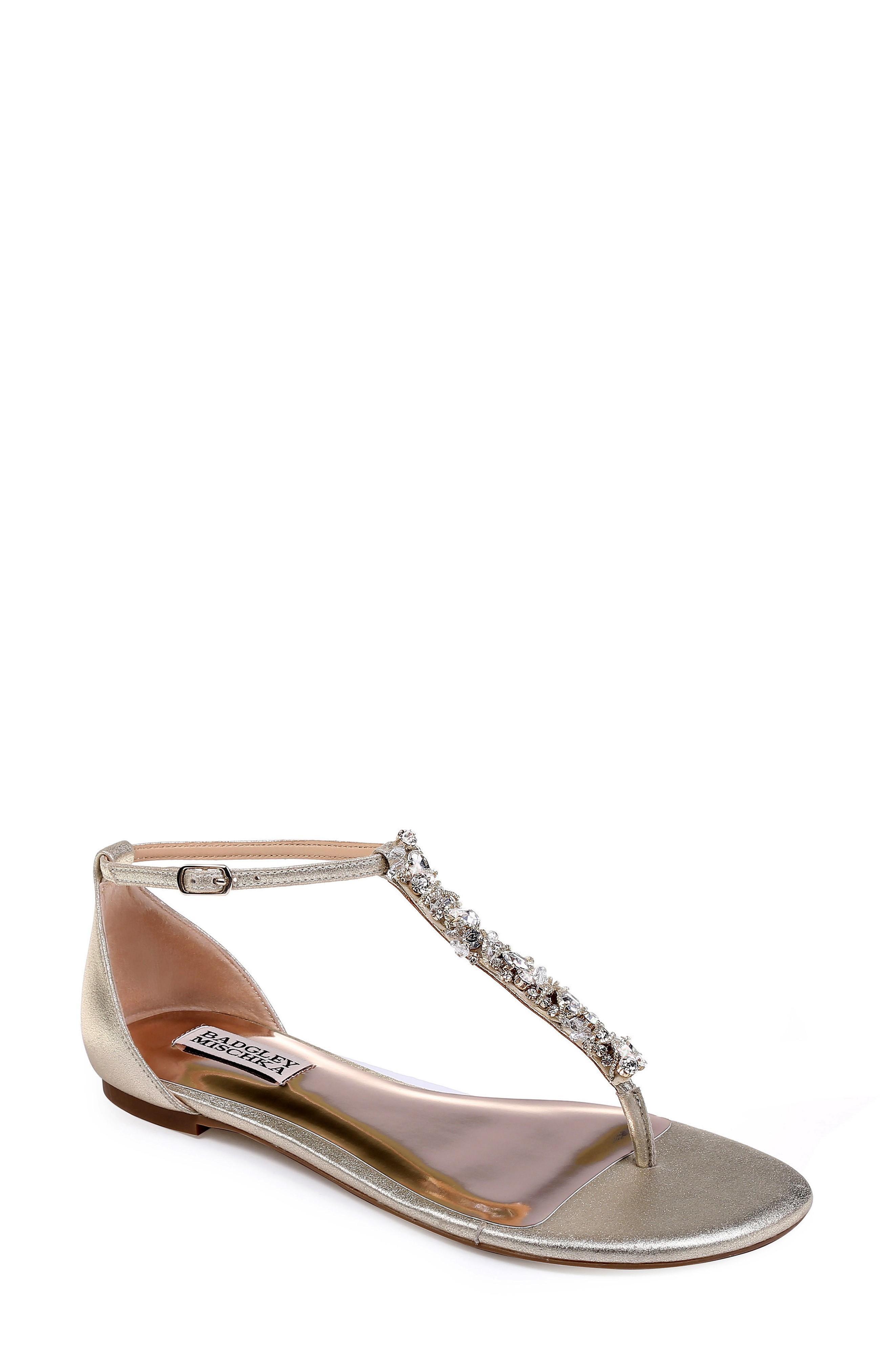 Badgley Mischka Holbrook T-Strap Sandal In Platino Metallic Suede