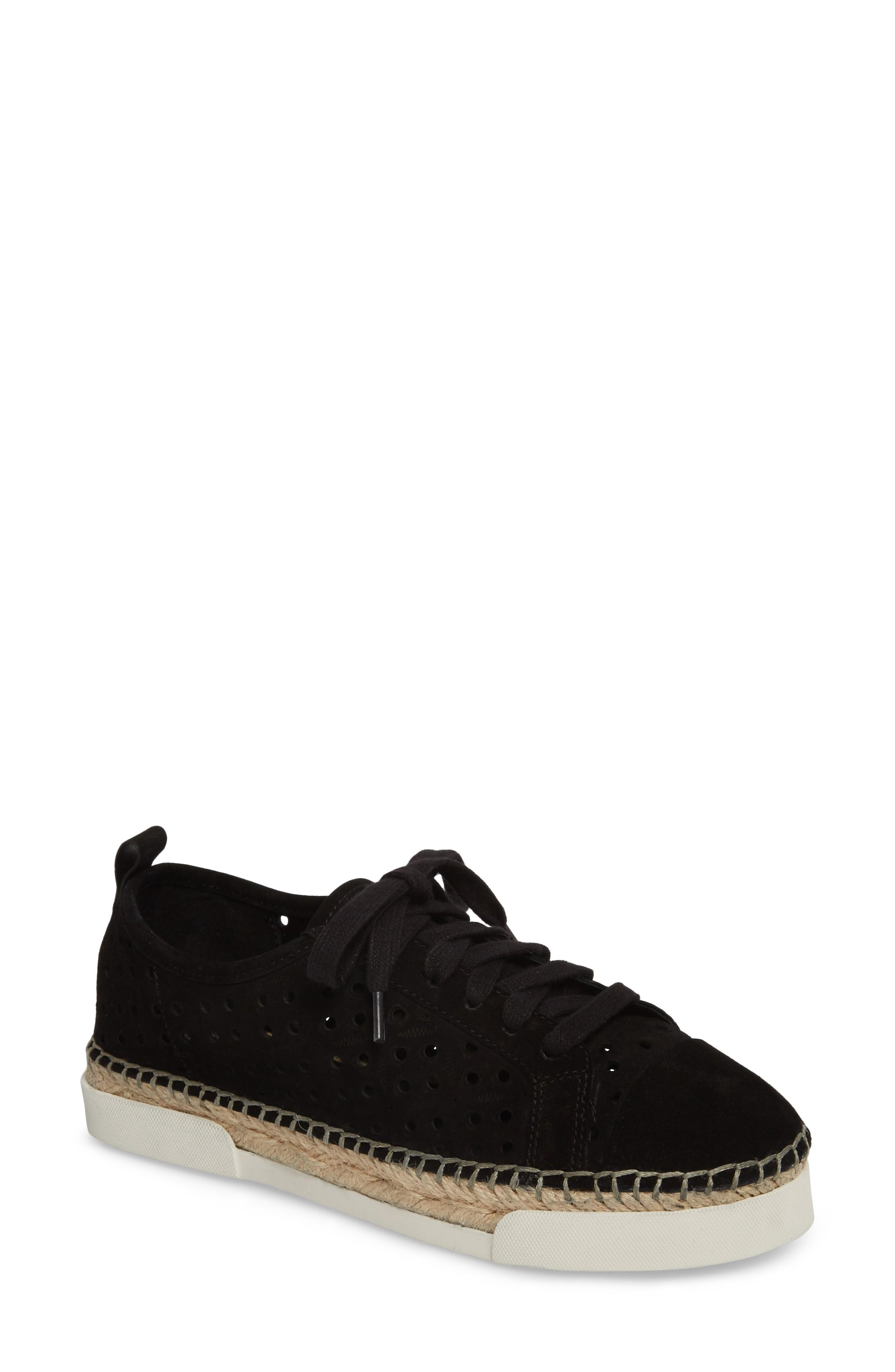 b0ec1483267 Vince Camuto Theera Perforated Espadrille Sneaker In Black Nubuck Leather