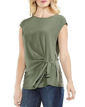 Vince Camuto Tie Front Blouse In Camo Green