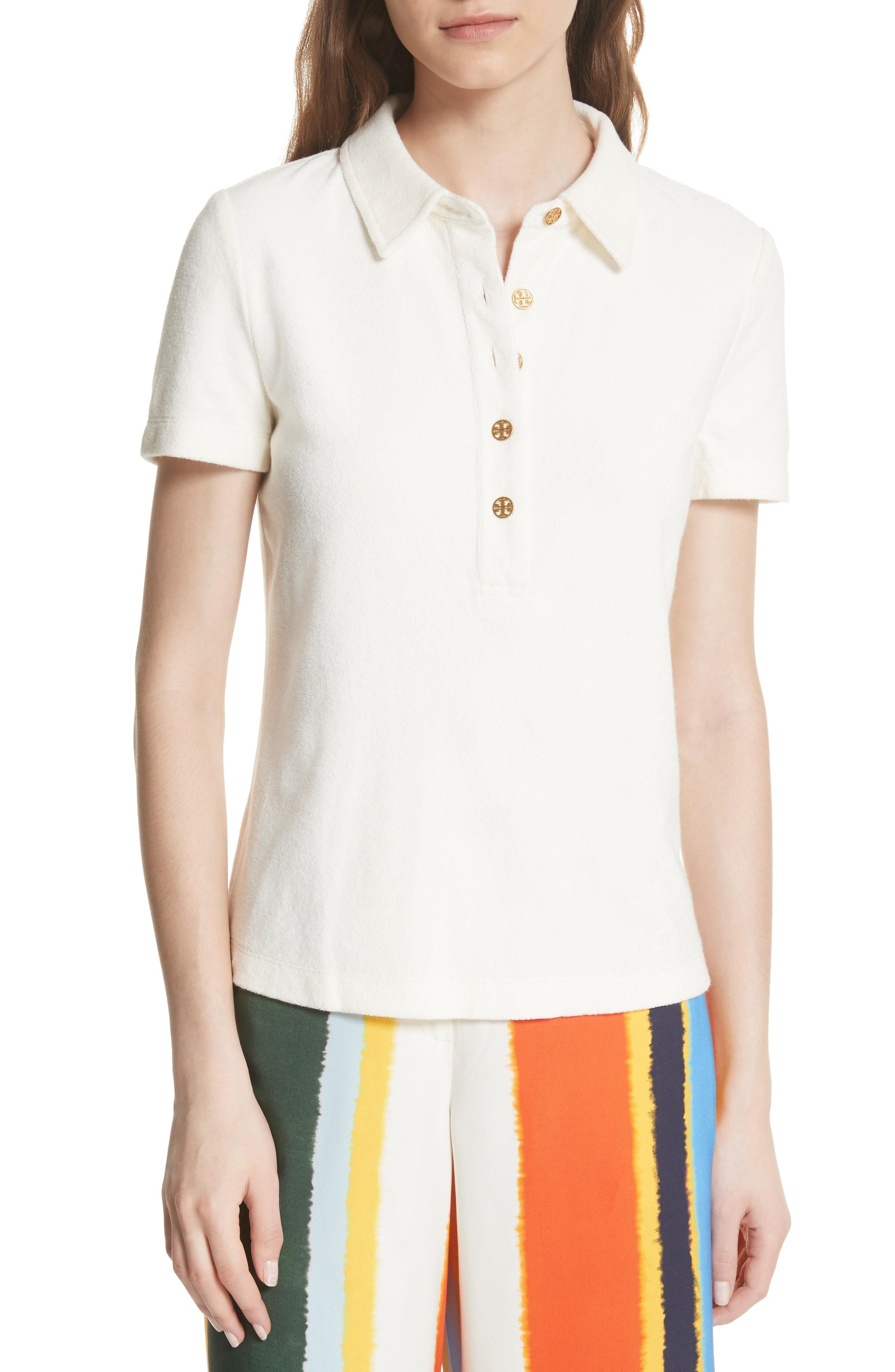 deb84aceb5ad Tory Burch Lennox Terry Cloth Polo In New Ivory