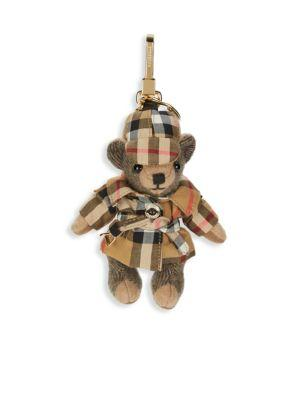 Burberry Thomas Bear Cashmere Bag Charm In Beige