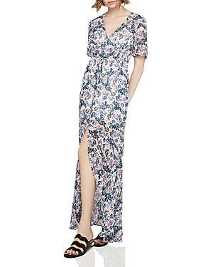 Bcbgeneration Slit Floral Print Maxi Dress In Whisper White Multi