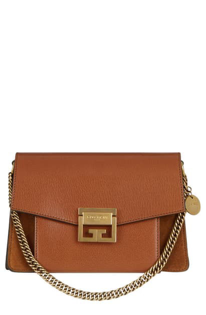 Givenchy Gv3 Small Leather & Suede Shoulder Bag - Chestnut