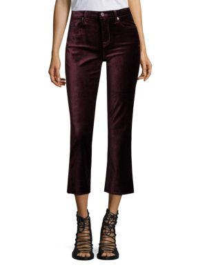 7 For All Mankind Velvet Cropped Flared Jeans In Boysenberry