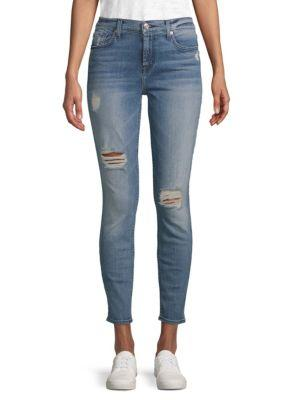 7 For All Mankind Ankle Skinny Jeans In Med Blue
