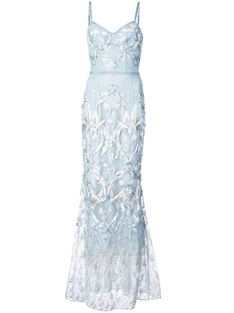 5196230fd1970 Marchesa Notte Black Sleeveless Embroidered Corset Gown In Light Blue