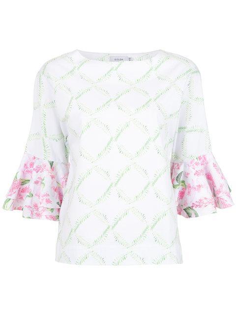 Isolda Printed Jasmine Blouse In White