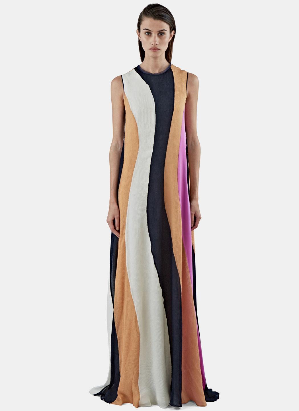 dd96cf9faf826e Roksanda Women's Pemba Long Seersucker Striped Dress In Black, White, Tan  And Pink In