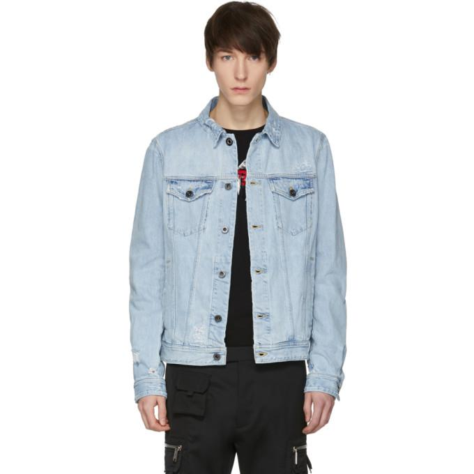 Diesel Black Gold Blue Distressed Denim Jacket In 01 Blue
