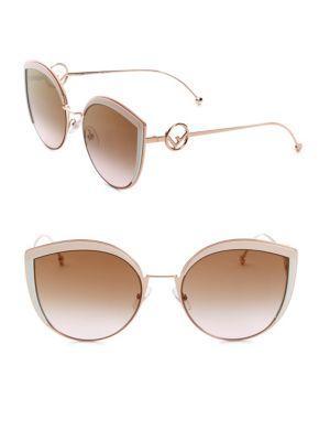 0a73eae7ab1 Fendi Round Slight Cat Eye Sunglasses In Pink Brown Gradient