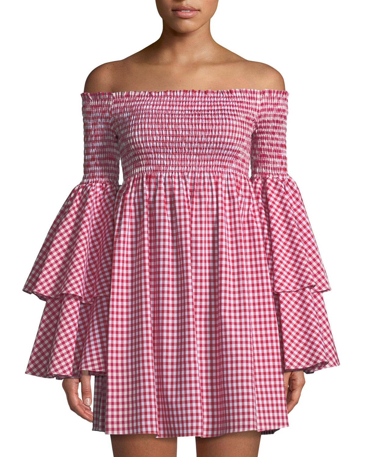 7ee077eb04722f Caroline Constas Appolonia Off-The-Shoulder Bell-Sleeve Gingham ...