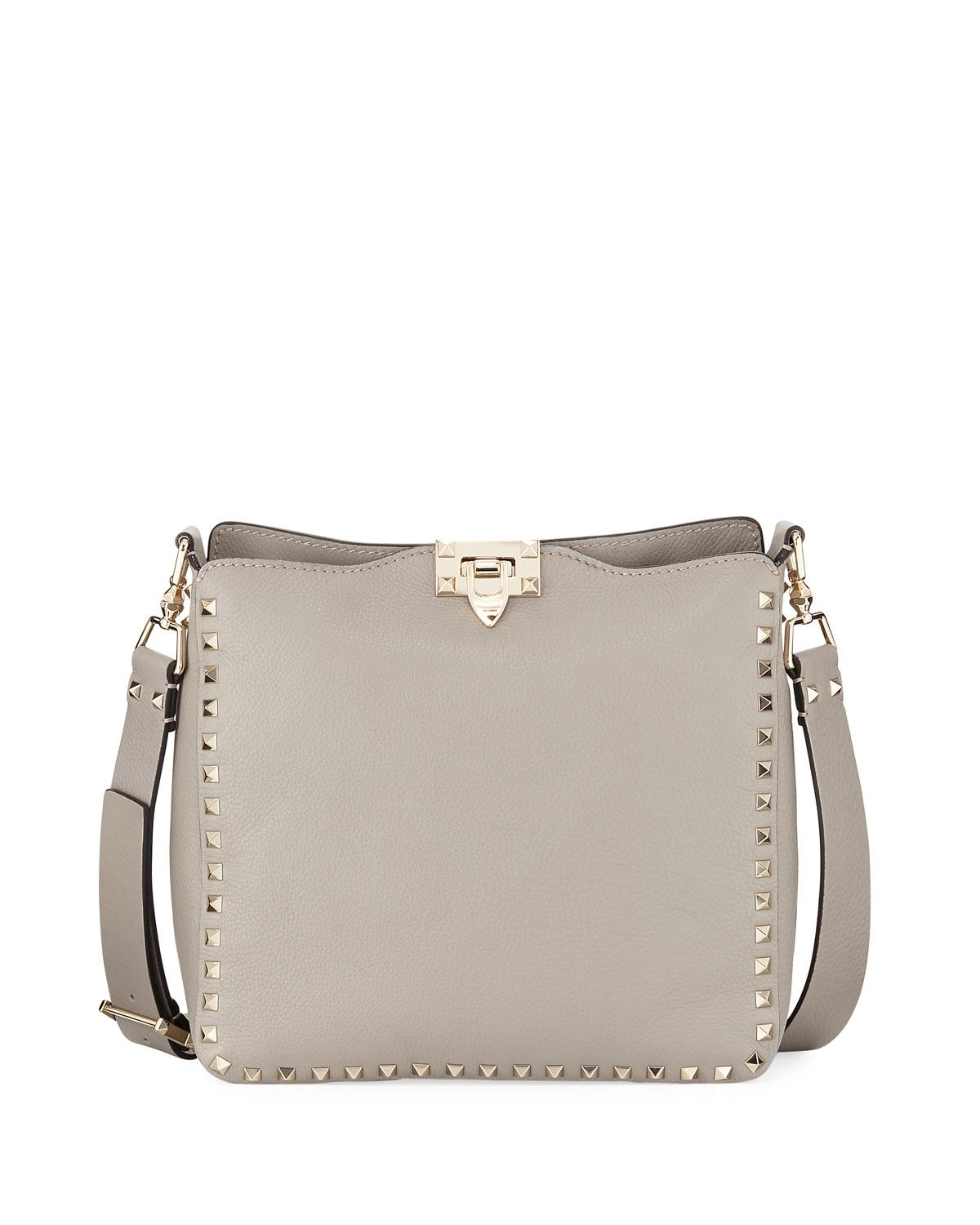 d8b3cb5774 Valentino Rockstud Small Leather Hobo Bag In Gray | ModeSens