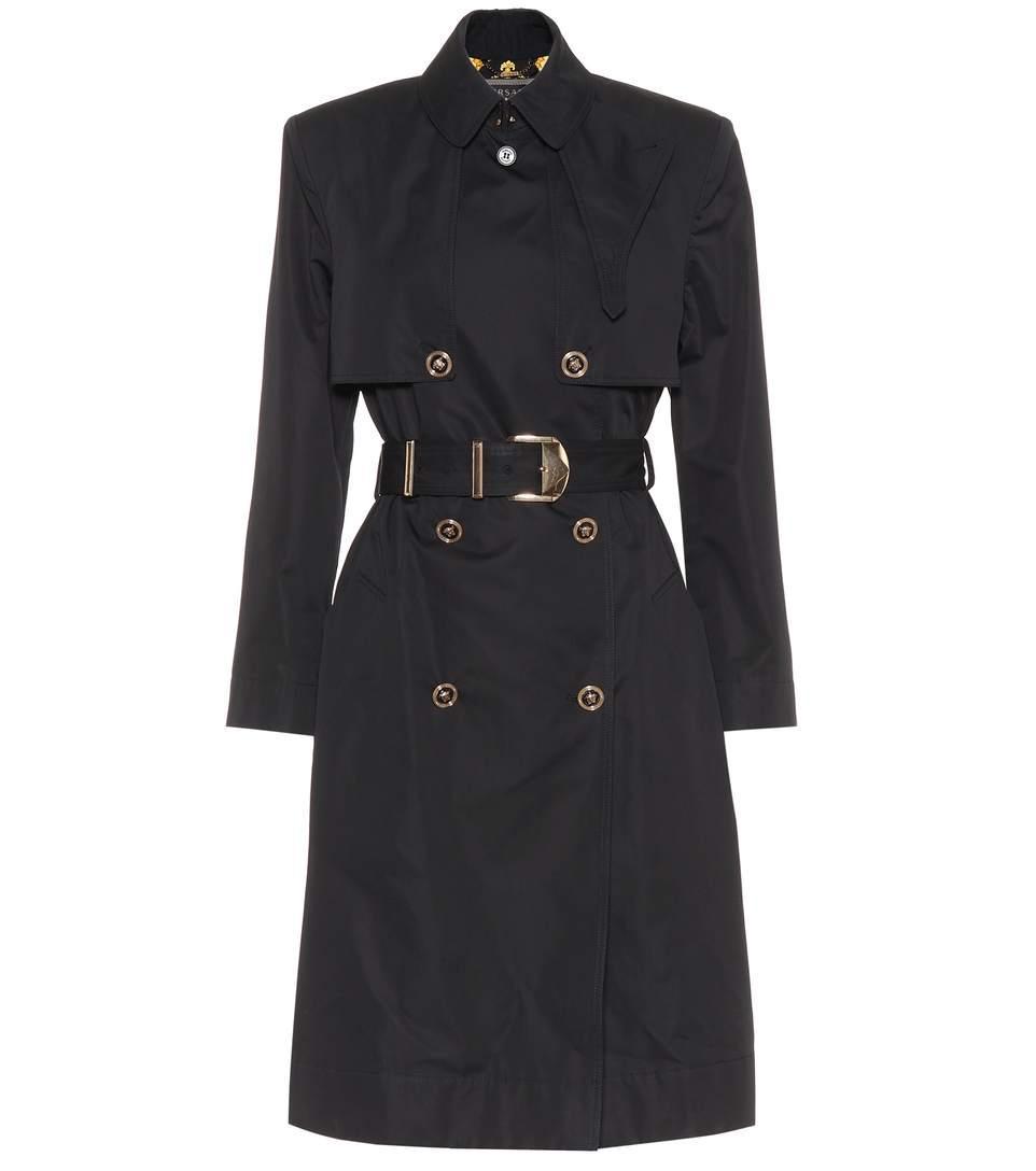Versace Belted Cotton-Blend Gabardine Trench Coat In Black