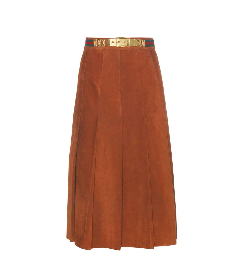 2dffe390f Gucci Pleated Suede Skirt In Brown | ModeSens