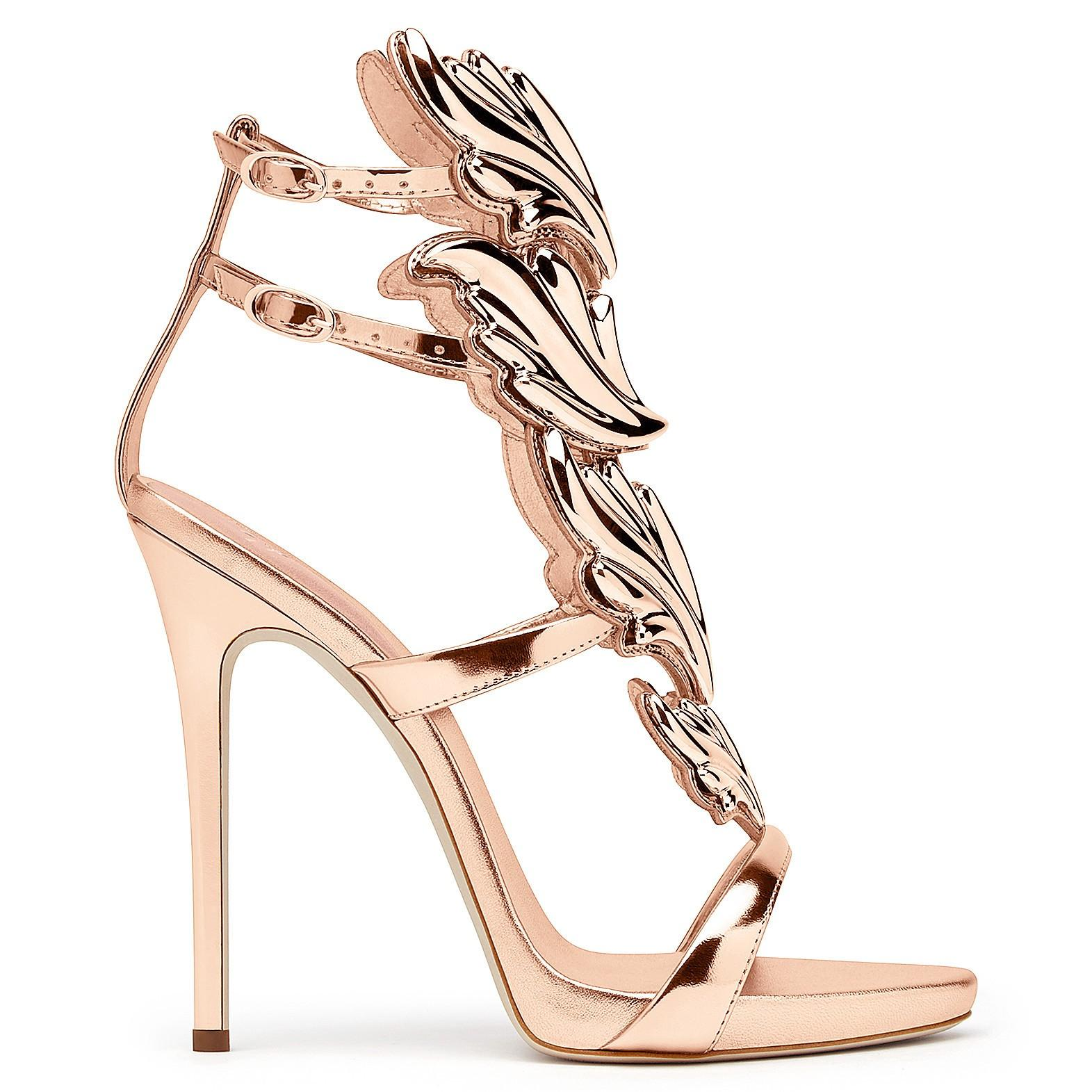 3a4fc6f392be5 Giuseppe Zanotti Coline Wings Suede 110Mm Sandals In Rose Gold ...