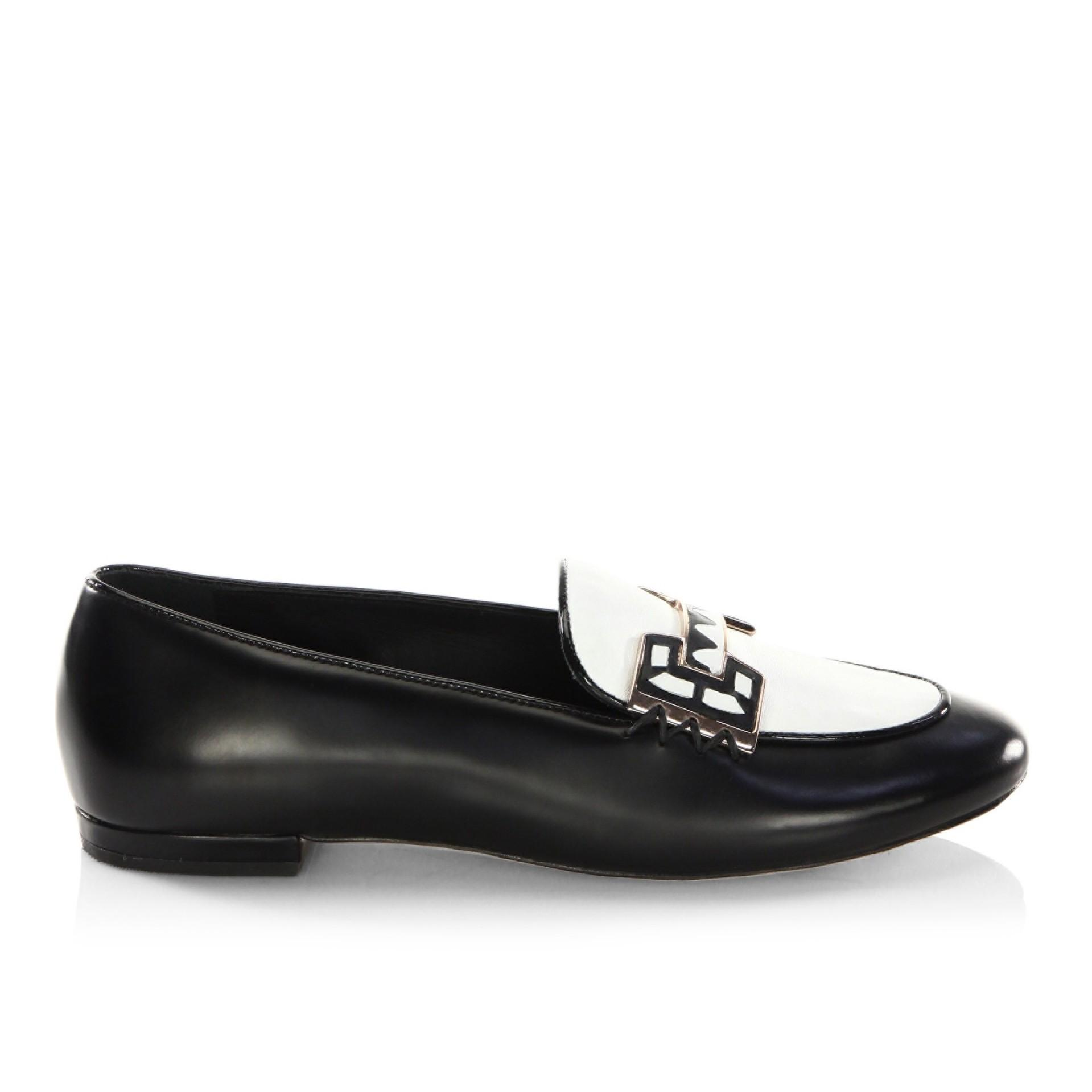 Sophia Webster Riko Leather Loafers In Black White