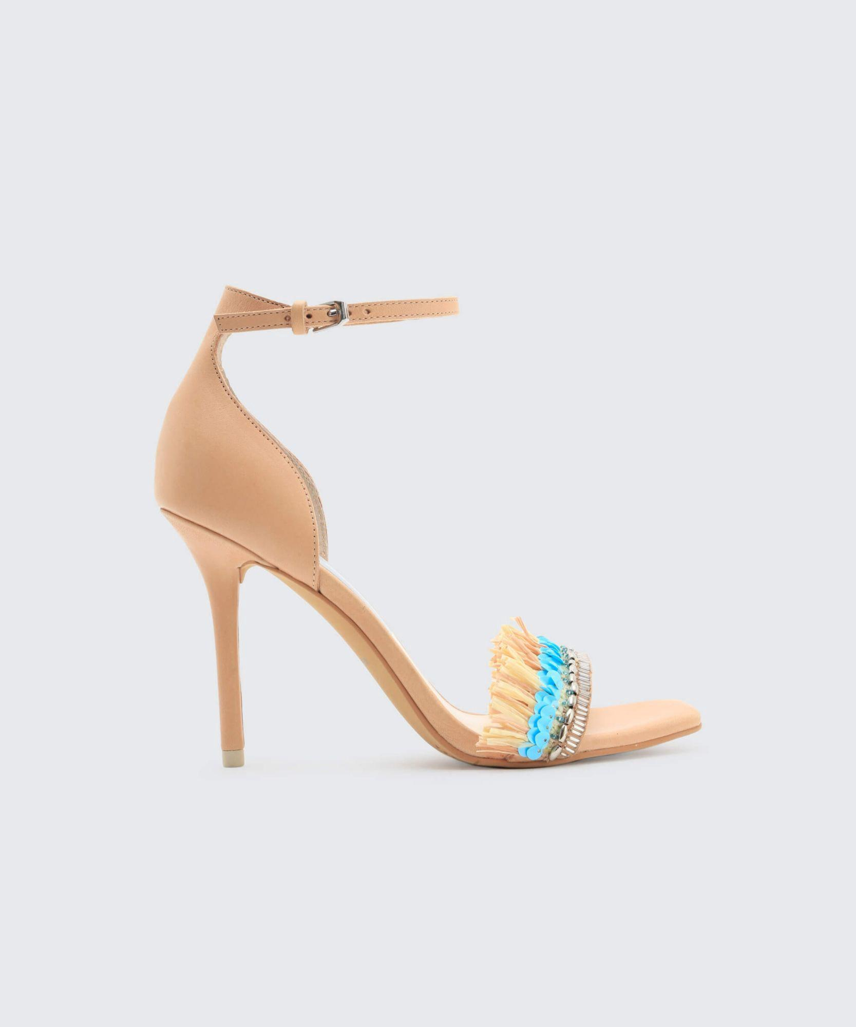 236e6cc86c76 Dolce Vita Women s Hyper Suede   Embellished Raffia High-Heel Sandals In  Neutral Pattern