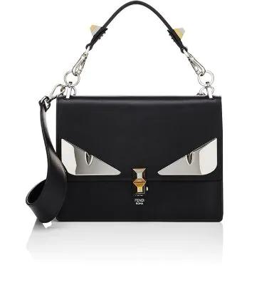 0ee185f519 Fendi Kan I Monster Calfskin Leather Shoulder Bag - Black | ModeSens