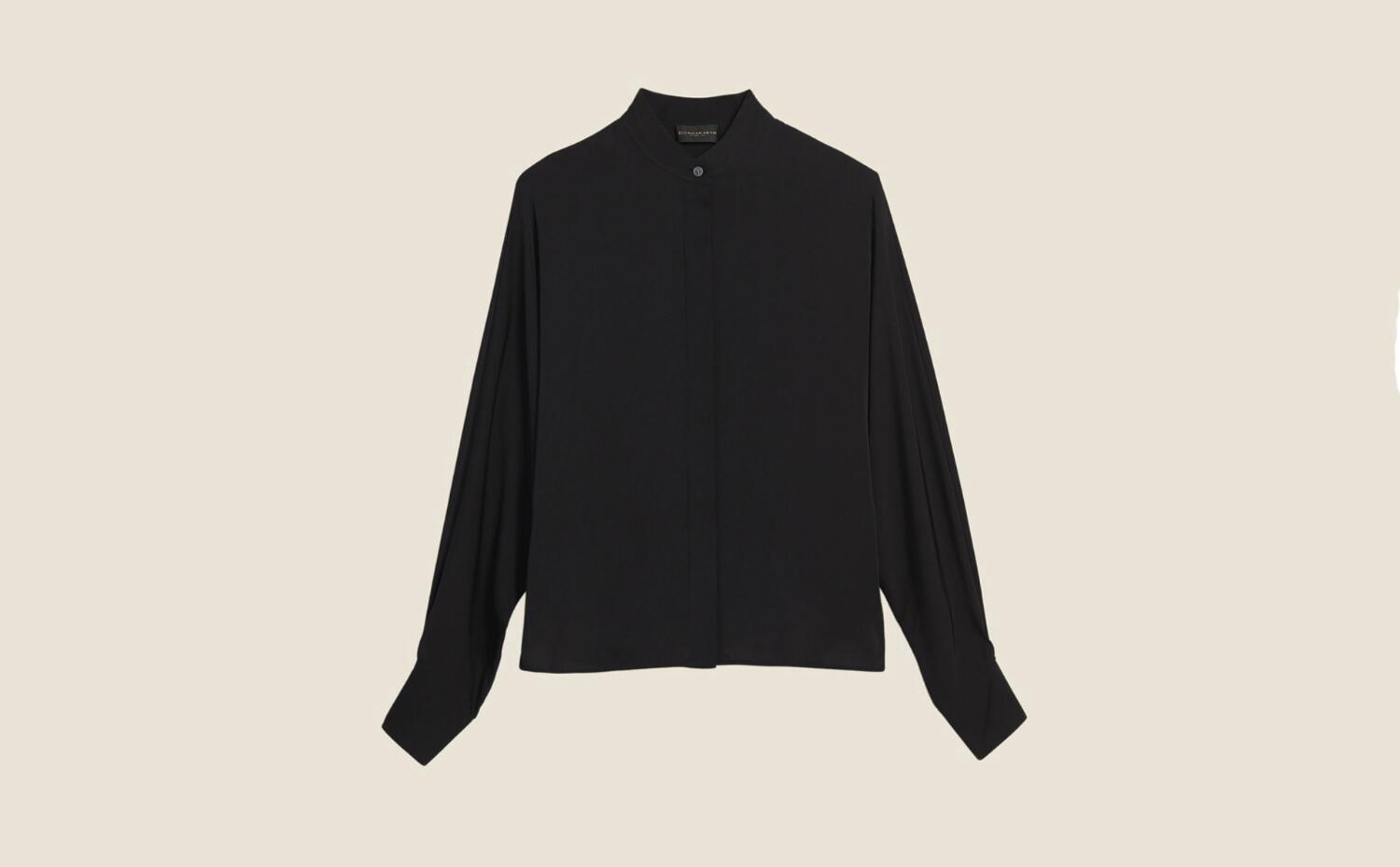 Donna Karan Silk Dolman Sleeve Blouse In Black