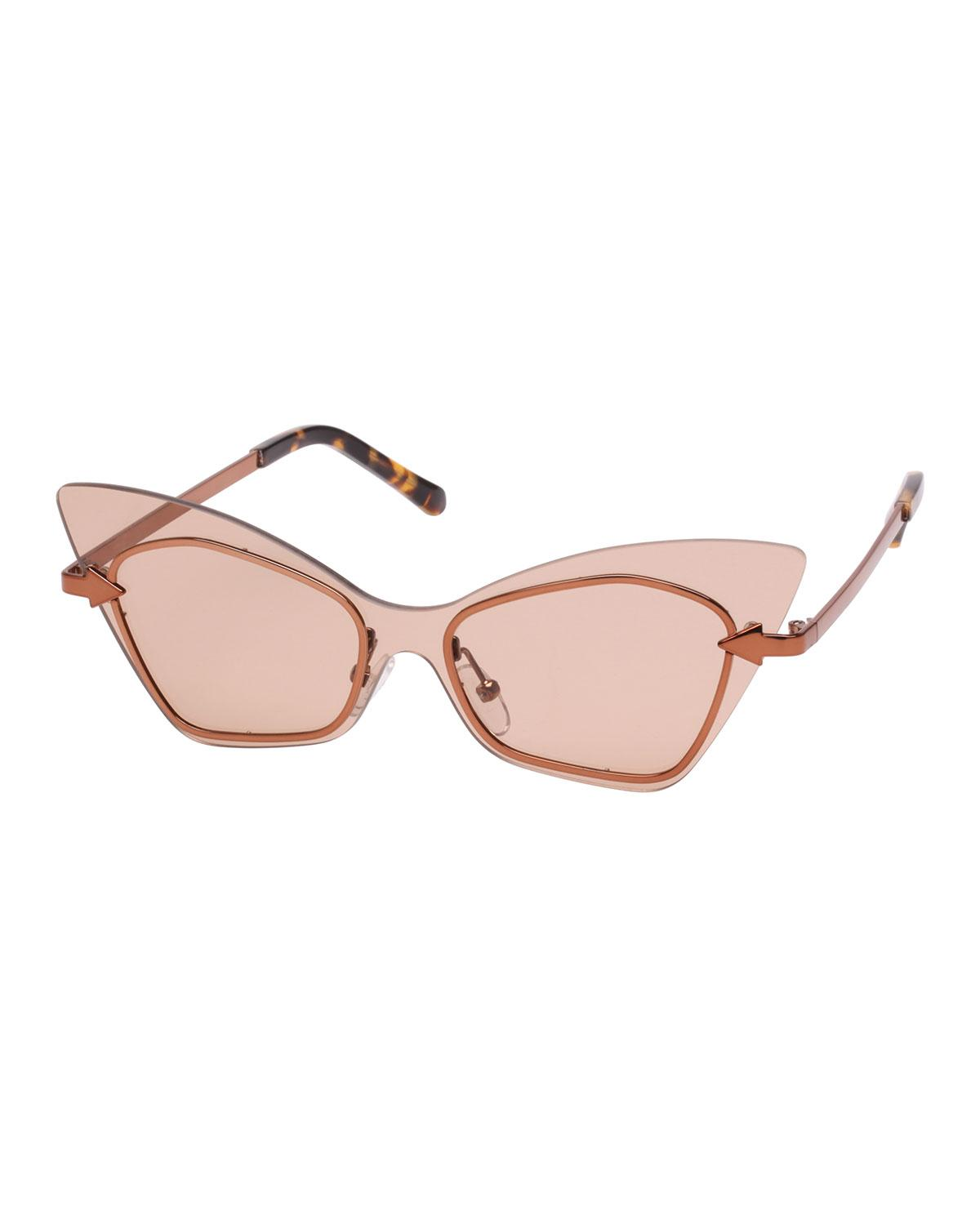 deab59d53cca Karen Walker Mrs. Brill Cat-Eye Semi-Rimless Sunglasses